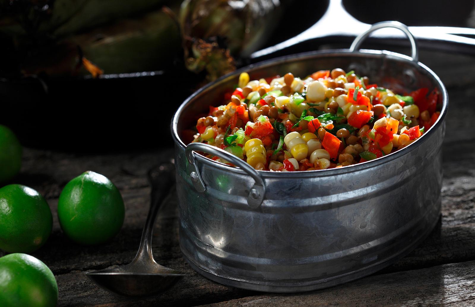Lentil Amp Bbq Corn Salad With Cilantro Lime Dressing