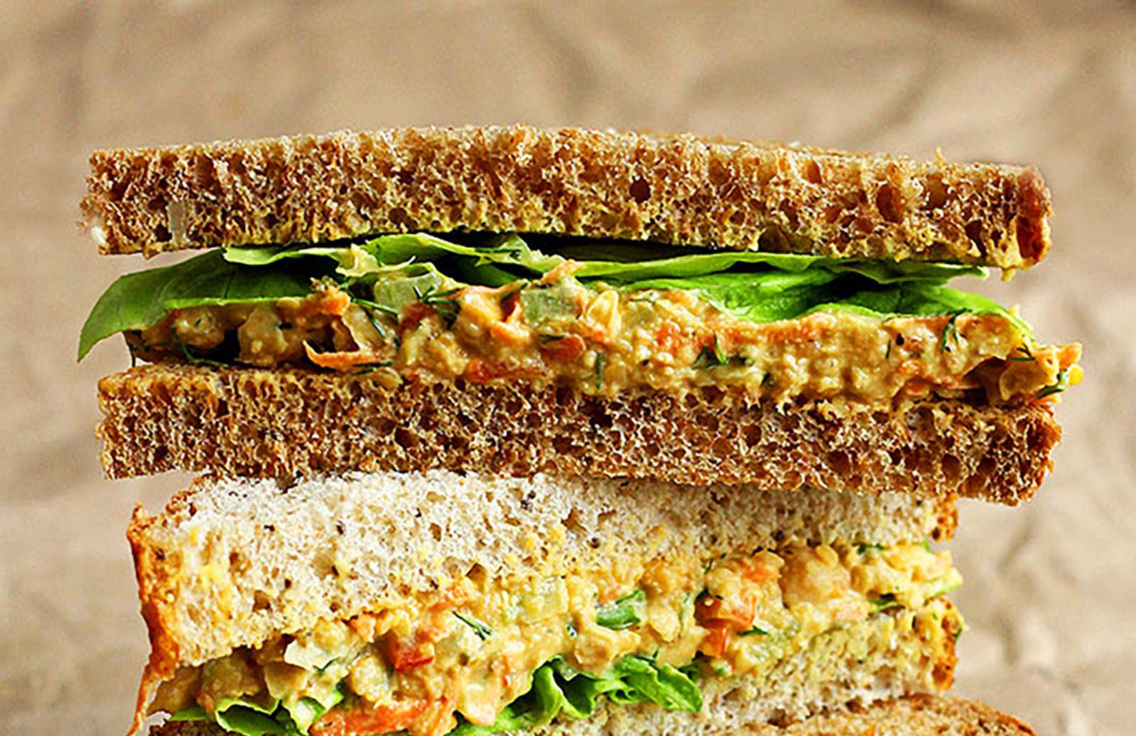 Lentil Amp Chickpea Salad Sandwiches Lentils Org