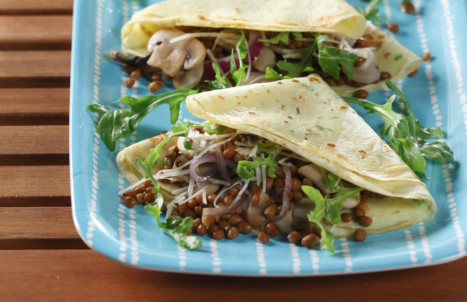 Savoury Crepes With Caramelized Onion Lentils Asiago Cheese Lentils Org