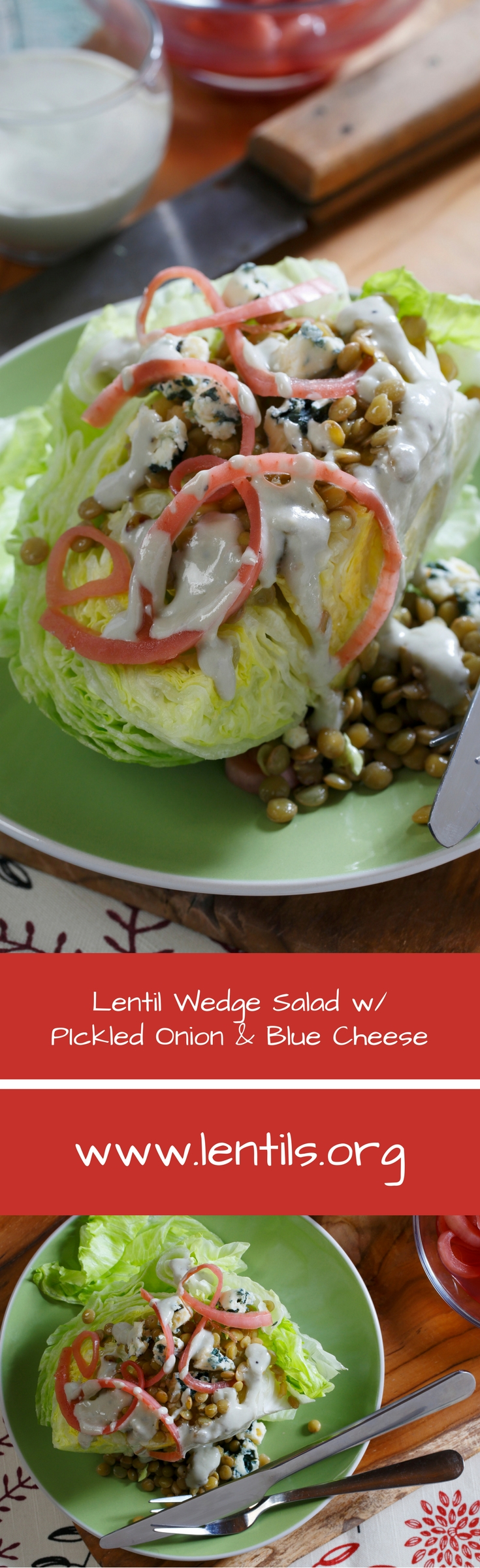 Lentil Wedge Salad With Pickled Red Onion Amp Blue Cheese